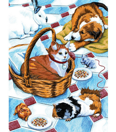 8-3/4''x 11-3/4'' Pencil By Number Kit-Family Pets