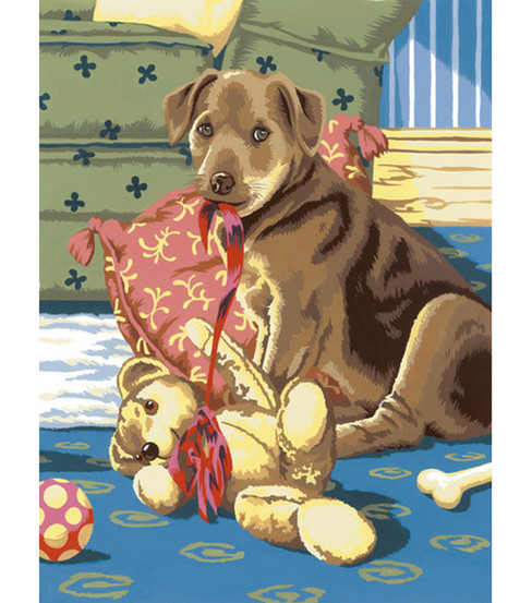 8-3/4''x11-3/4'' Junior Small Paint By Number Kit-Puppy With Teddybear