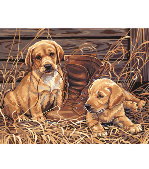 14''x11'' Paint By Number Kit-Puppies Plaything