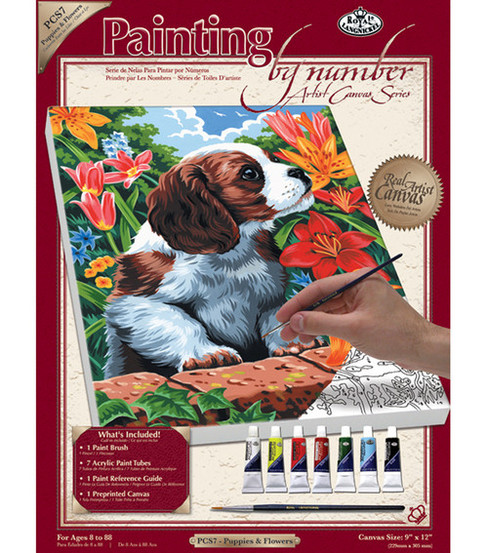 9''x12'' Paint By Number Kits-Puppy & Flowers