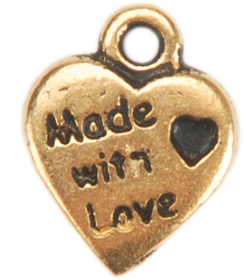 Embellishment Charms-Gold Made With Love Heart