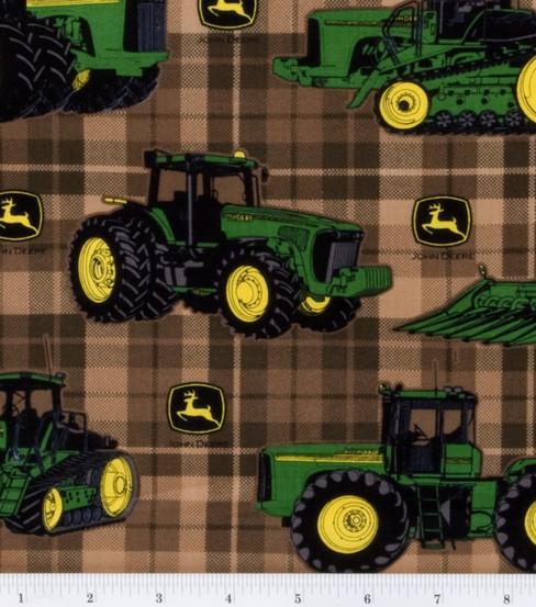 John Deere Cotton Fabric Brown Traditional Plaid