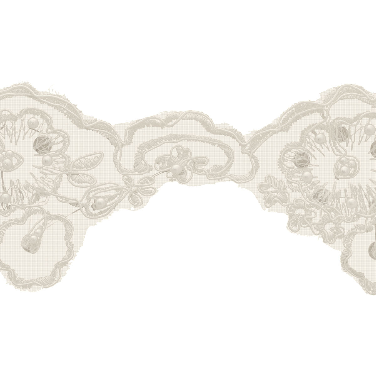 Wide Bridal Lace Beads 10Yd Ivory
