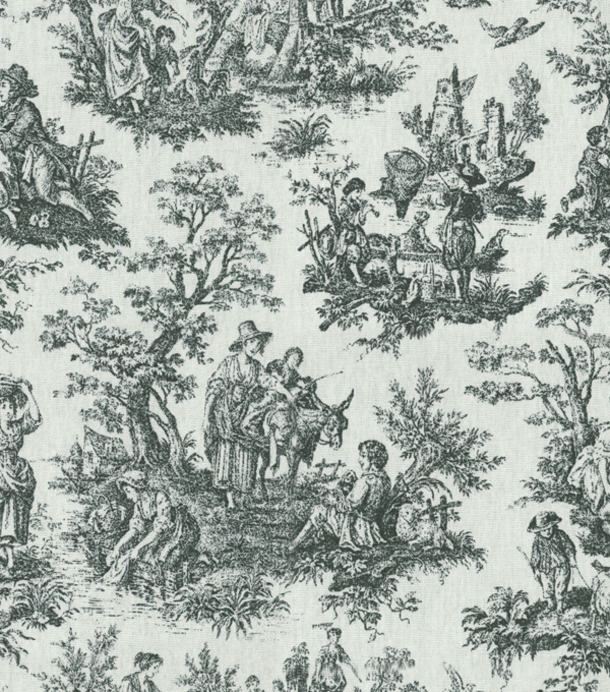 waverly home decor print fabric rustic toile black. Black Bedroom Furniture Sets. Home Design Ideas
