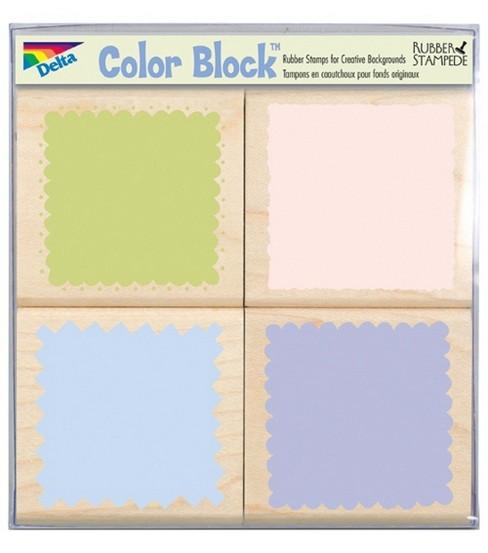 Rubber Stampede 4pc Rubber Stamp Set-Romantic Color Blocking