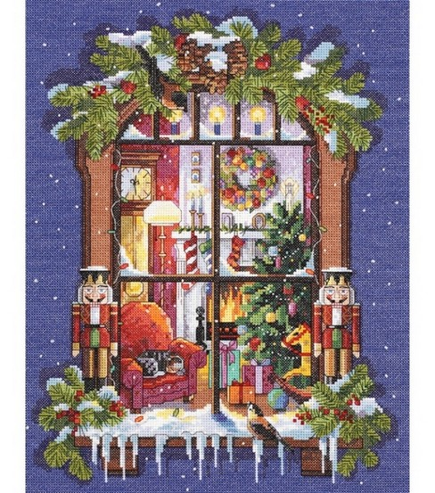 Janlynn Counted Cross Stitch Kit Christmas Window Picture