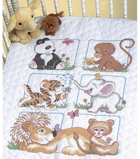 Dimensions Quilt Stamped Cross Stitch Kit Animal Babies