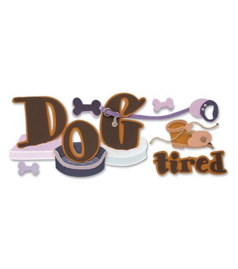 Dimensional Title Stickers-Dog Tired
