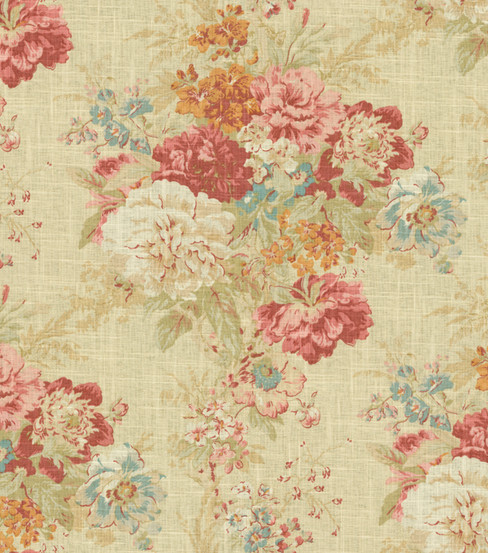 Home Decor Fabric-Waverly Romantic Overtures Ballad Bouquet Crimson
