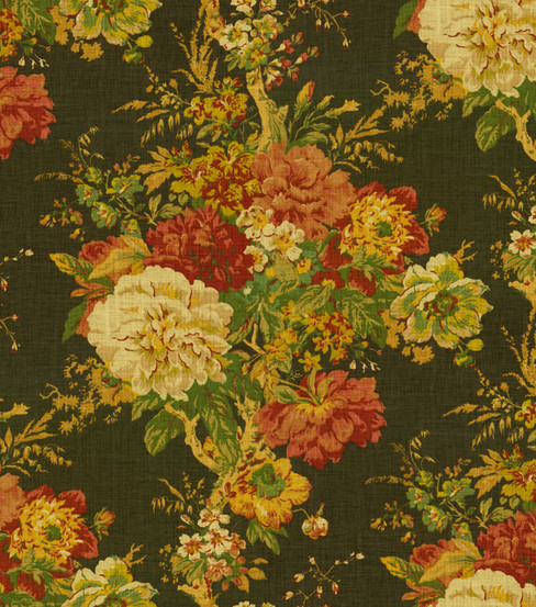 Home Decor Fabric-Waverly Romantic Overtures Ballad Bouquet Sepia
