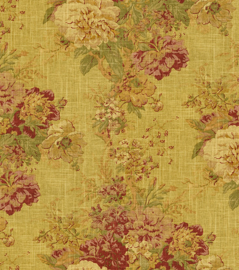 Home Decor Fabric-Waverly Romantic Overtures Ballad Bouquet Tea Stain