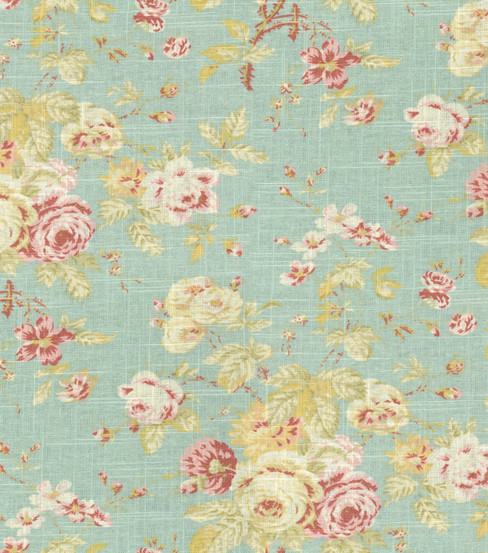 Home Decor Fabric-Waverly Romantic Overtures Rose Sonata Robin's Egg