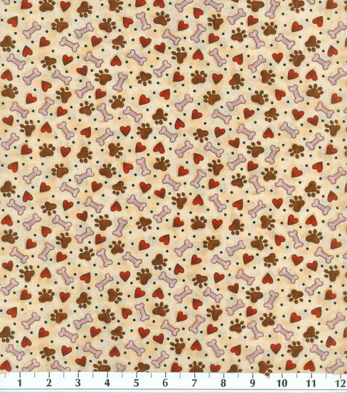 Novelty Cotton Fabric- Puppy Love Tossed
