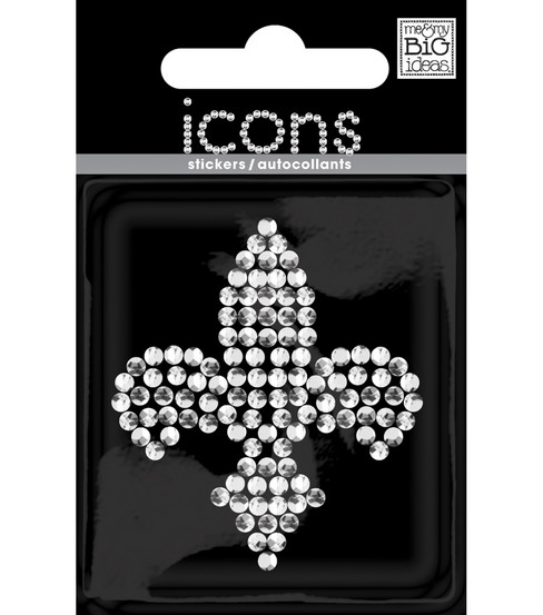 Rhinestone Word & Icon Stickers-Mini Fleur de lis/Crystal