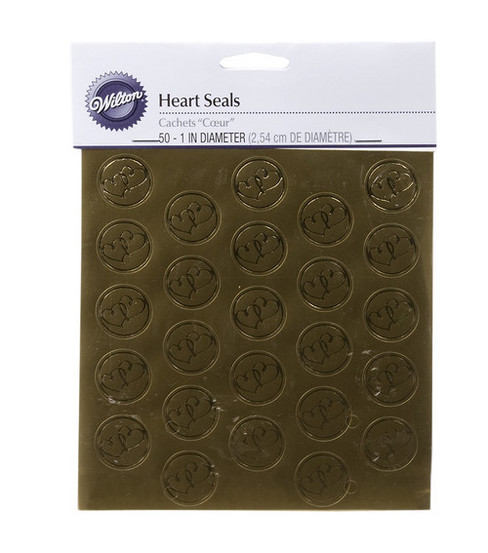 Wilton 50 ct. Gold Heart Envelope Seals