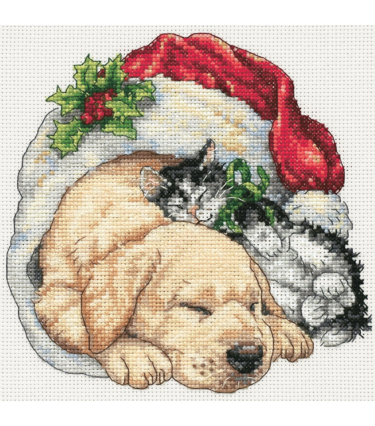 Gold Collection Petite Christmas Morning Pets Counted Cross Stitch Kit