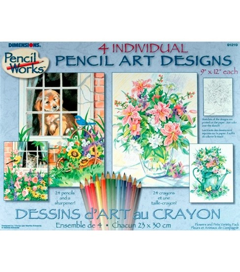 Pencil By Number Kit (4 ) 9X12-CatDog(2)Floral