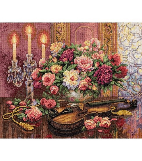 "Dimensions Gold Collection Romantic Floral Counted X-Stitch-16""X13"""