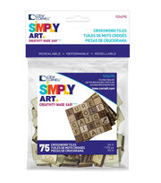 Loew Cornell Simply Art 75 pk 0.75'' Wood Crossword Tiles, , hi-res
