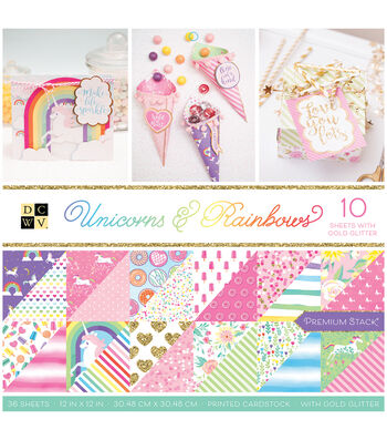 DCWV Unicorns & Rainbows 36 pk 12''x12'' Cardstock Stack