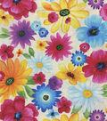 Premium Quilt Cotton Fabric-Rainbow Large Flowers