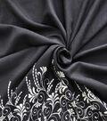 Linen Blend Fabric 52\u0022-Black Embroidered Folk Border
