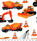 Snuggle Flannel Fabric-Construction Trucks