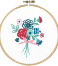 Vervaco 5.8\u0027\u0027 Round Stamped Embroidery Kit-Modern Flowers with Bow