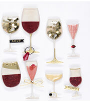 Jolee's Boutique Domed Stickers-Wine Glass, , hi-res