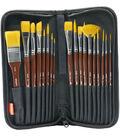 KINGART Paint Brush Set W/Case 18/Pkg