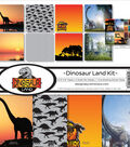 Reminisce Collection Kit 12\u0022X12\u0022-Dinosaur Land, 8 Papers & Stickers