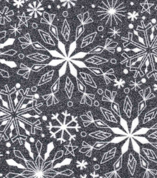 Snuggle Flannel Fabric -Elegant Snowflakes on Gray