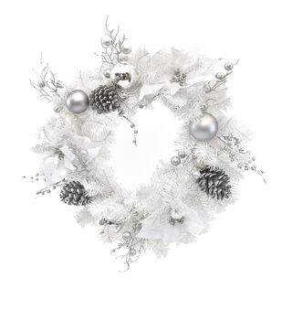 Handmade Holiday Christmas Bauble, White Poinsettia & Pine Wreath