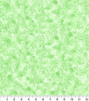 Keepsake Calico Cotton Fabric-Green Fairy Swirls