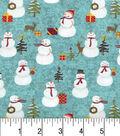Maker\u0027s Holiday Cotton Fabric 43\u0022-Snowmen and Trees