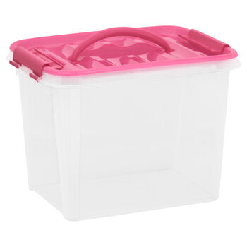 Snapware Smart Store 12 x 9 Tote with pink handles and lid