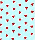 Holiday Showcase Christmas Cotton Fabric 43\u0022-Ditsy Santa Hats Blue