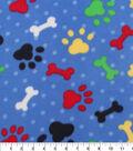 Blizzard Fleece Fabric 59\u0022-Paw Print And Bone