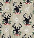 Christmas Cotton Fabric 43\u0022-Woodgrain Deer Heads