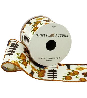 Simply Autumn Ribbon 2.5''x12'-Scarecrow on Ivory