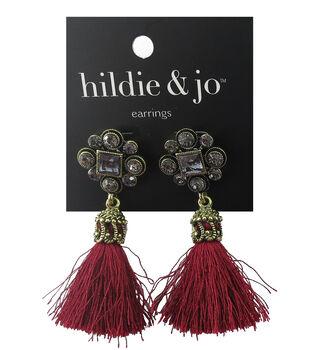 hildie & jo 0.13''x0.75'' Antique Gold Earrings-Red Tassel