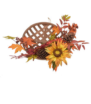 Blooming Autumn Sunflower, Berry & Pinecone Wreath-Red & Burgundy