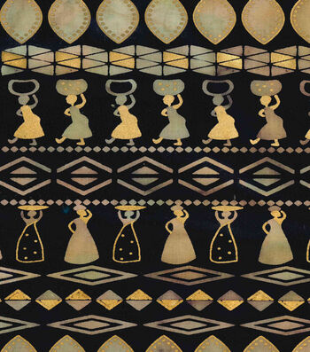 "Ethnic Print Cotton Fabric 44""-Women Carrying Baskets Navy"