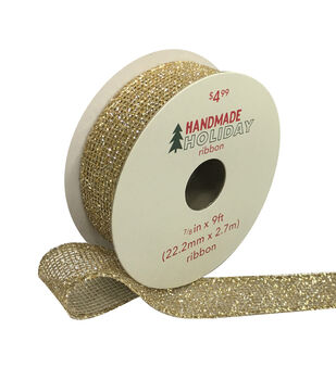 Handmade Holiday Christmas Glitter Mesh Ribbon 7/8''x9'-Gold