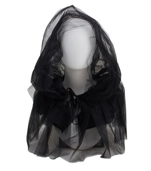 Maker's Halloween Adult Costume-Cape Short Black Tulle