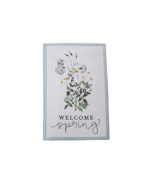 In the Garden 12''x18'' Flag-Floral & Welcome Spring