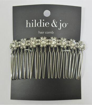 hildie & jo Silver Hair Comb-Flower Rhinestones
