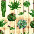 Snuggle Flannel Fabric-Cacti on Wood