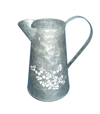 Fresh Picked Spring Metal Watering Can-White Flower