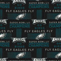 Philadelphia Eagles Cotton Fabric -Champions on Black